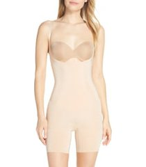 women's spanx oncore mid thigh shaper bodysuit, size large - beige