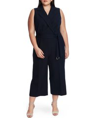 plus size women's vince camuto belted sleeveless crop jumpsuit, size 24w - blue