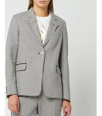 golden goose deluxe brand women's golden jacket - navy white check - l - blue