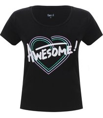 camiseta descanso mujer awesome color negro, talla m