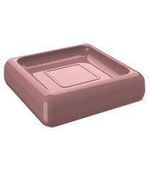saboneteira cube 10 x 10 x 2,5 cm rosa malva coza