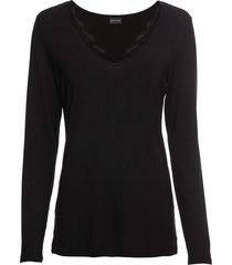 maglia a maniche lunghe con applicazione di pizzo (nero) - bodyflirt