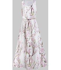 floral print elastic waist maxi dress