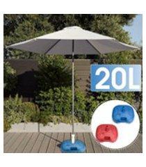 base de guarda-chuva de 20l para pátio, água, areia, suporte de plástico, praia, viagem