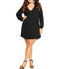 plus size women's city chic quiero long sleeve shift dress, size xx-large - black