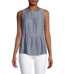 beach lunch lounge women's lee chambray top - blue - size xs