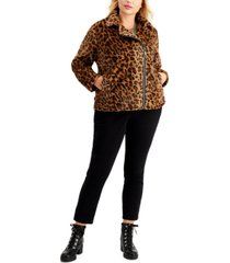 jou jou juniors' trendy plus size faux-fur leopard moto jacket