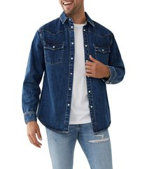 men's true religion western denim shirt, size xx-large - blue