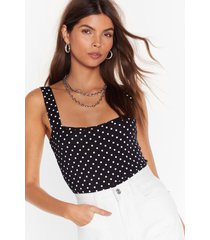 womens high-leg polka dot bodysuit - black