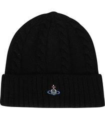 vivienne westwood black virgin wool beanie hat