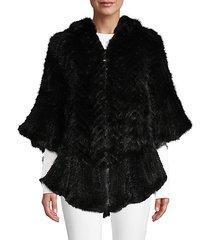 mink fur front-zip poncho