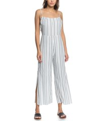 roxy juniors' feelings catcher striped strappy jumpsuit
