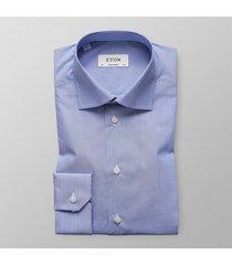 eton heren overhemd poplin fijne streep contemporary fit blauw