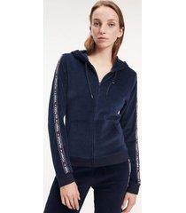 tommy hilfiger women's velour logo hoodie navy blazer - xs