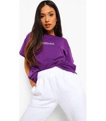 petite oversized geborduurd official t-shirt, purple
