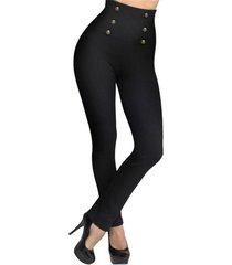 leggings negros de cintura alta con botones delanteros