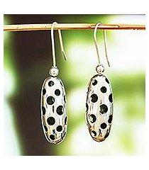 sterling silver dangle earrings, 'bold openings' (mexico)