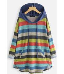 camicetta taglia plus con cappuccio manica lunga a righe arcobaleno