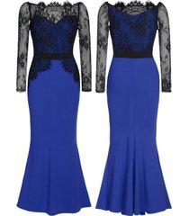 vestido largo grupo tabu 603 - azul con encaje