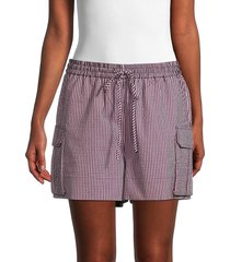 ganni women's striped drawstring shorts - moonlight - size 40 (8)