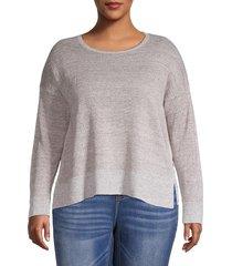 eileen fisher women's plus heathered organic linen sweater - brown - size 1x (14-16)