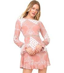 vestido lez a lez curto gypsy rosa/branco