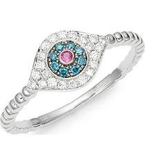 ruby, white & blue diamond 14k white gold evil eye ring