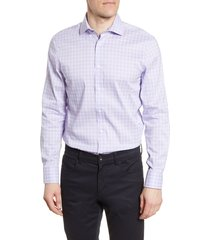 men's big & tall psycho bunny slim fit stretch non-iron plaid dress shirt, size 18 - 34/35 - purple