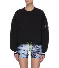 twist serve' neon drawstring hem logo sweatshirt