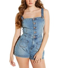 guess sleeveless denim romper
