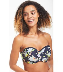 florentine floral bandeau bikini top