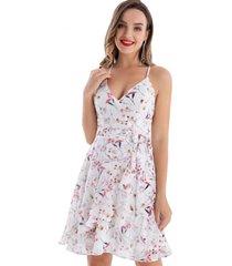 vestido floral vuelos blanco nicopoly