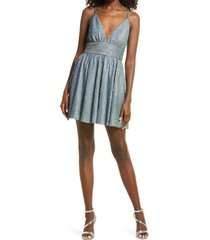 lulus stop the show glitter skater dress, size large in blue at nordstrom