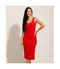 vestido canelado básico com fendas midi alça larga vermelho