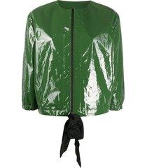 sara lanzi collarless vinyl jacket - green