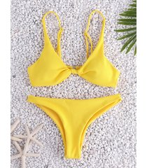 yellow adjustable shoulder straps knotted bikinis