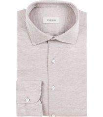 camicia da uomo su misura, maglificio maggia, beige melange piquet cotone, quattro stagioni   lanieri