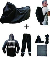 combo impermeable x3 pijama moto + traje 4p + forro maleta c18 - negro