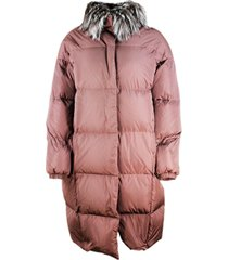 fabiana filippi long oversized down jacket in 90% goose down and 10% feathers in taffetà with detachable fox collar and pockets with concealed zip cl