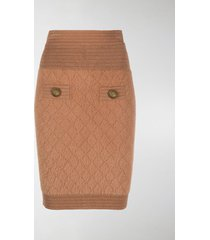 balmain fluffy knit fitted skirt