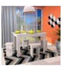 conjunto de mesa de cozinha com 4 bancos | banquetas regina branco 120 cm