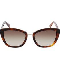 longchamp roseau 53mm gradient rectangle sunglasses in havana/brown at nordstrom