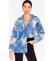 womens off the re-corduroy oversized tie dye shirt - blue