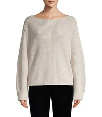 french connection women's ribbed cotton sweater - light grey - size m