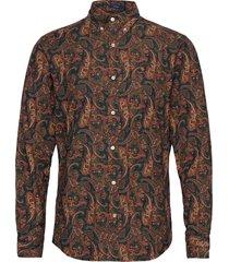 d2. babycord paisley print reg bd overhemd casual bruin gant