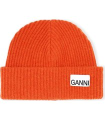 women's ganni recycled wool blend beanie - red