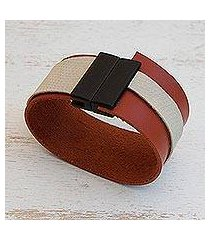 faux leather wristband bracelet, brown and beige tango' (brazil)