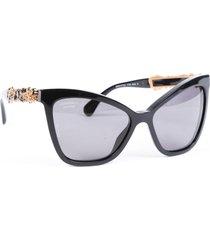 chanel bijou camellia polarized cat eye sunglasses black/gold/floral print sz:
