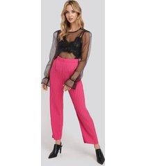 na-kd trend elastic waist pleated pants - pink