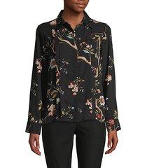 botanical-print pleated shirt